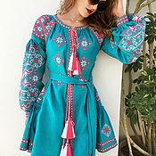 "Одежда handmade. Livemaster - original item Turquoise dress with wedges ""Spring Beauty"". Handmade."