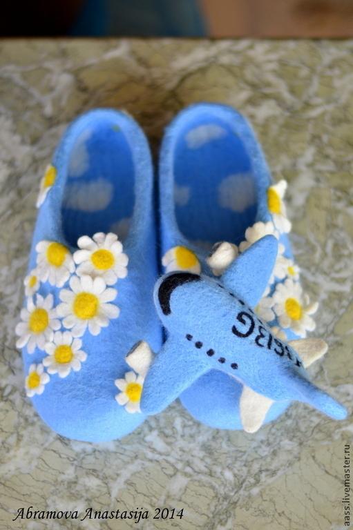Обувь ручной работы. Ярмарка Мастеров - ручная работа. Купить Тапочки для летчика.. Handmade. Голубой, тапки для летчика, шерсть 100%