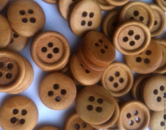 Шитье ручной работы. Ярмарка Мастеров - ручная работа. Купить Пуговица 15 мм деревянная бежевая. Handmade. Материалы для творчества