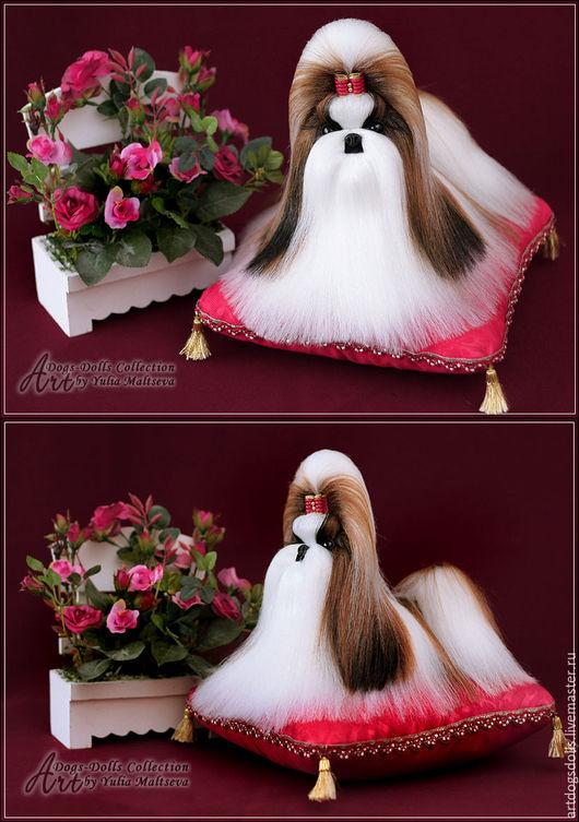 Кукла лежащего ши-тцу, возможно изготовление под заказ разных размеров и окрасов.