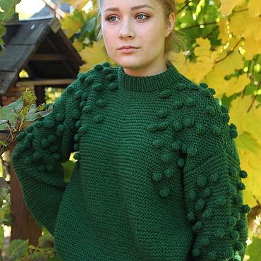 Одежда ручной работы. Ярмарка Мастеров - ручная работа Свитер с шишками зеленый. Handmade.