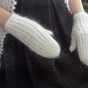 Аксессуары ручной работы. Ярмарка Мастеров - ручная работа 115, Варежки пуховые,  белый, козий пух,  вязаные, теплые. Handmade.