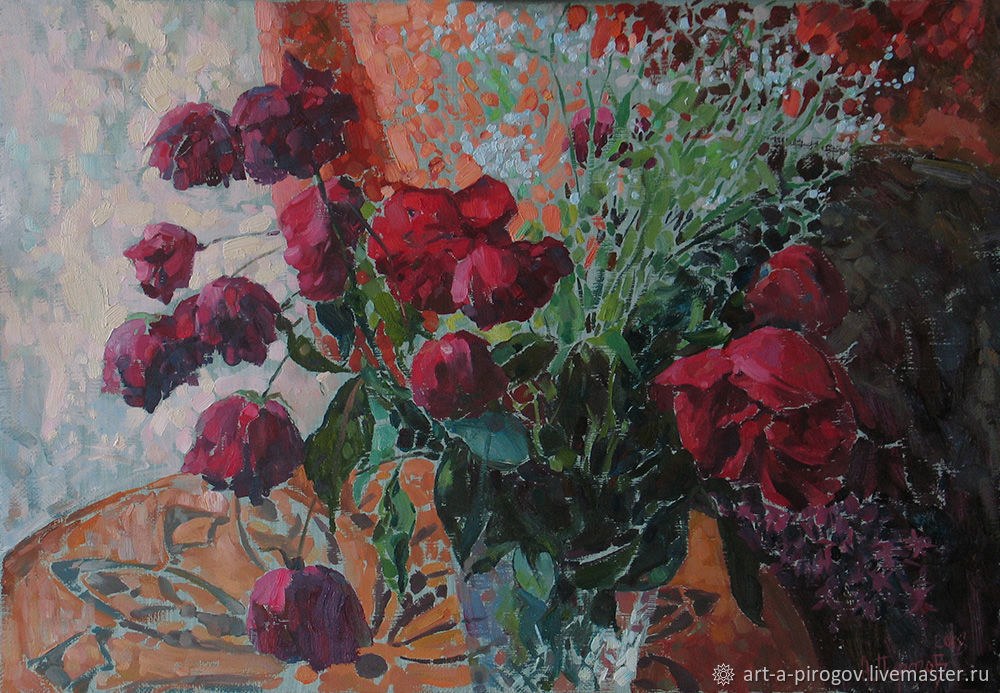 still life with roses. Burgundy roses. Painting, Pictures, Petushki,  Фото №1