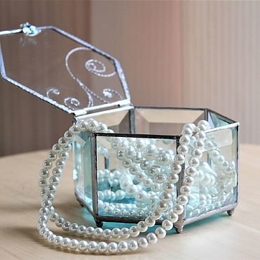 Свадебный салон ручной работы. Ярмарка Мастеров - ручная работа Свадебная шкатулка. Шкатулка для колец Тиффани. Handmade.