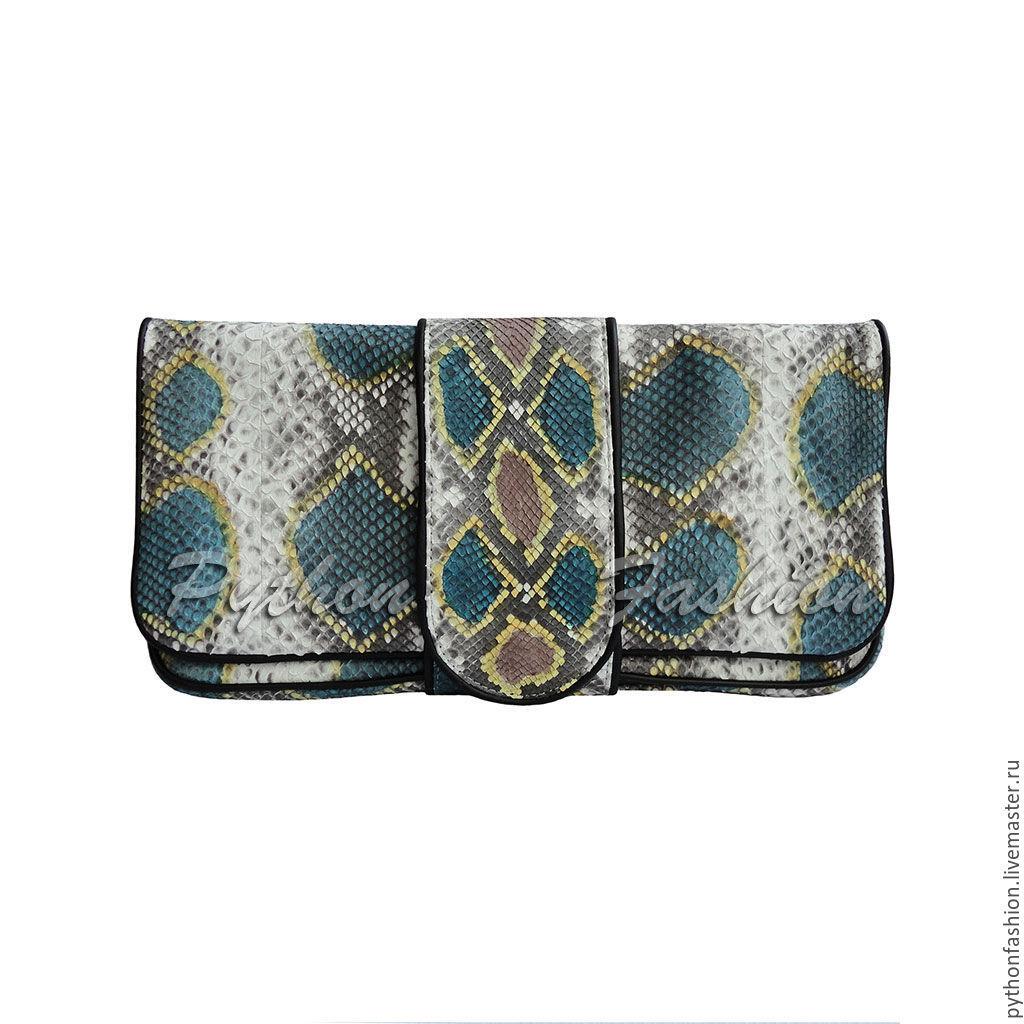 Evening clutch made of Python skin. Clutch bag made from Python skin handmade. Fashionable clutch made from Python. Lisinetskii clutch from Python custom. Bright clutch from Python. Stylish clutch bag