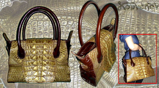 Сумка женская. Выполнена из кожи крокодила, скомбинирована с КРС (лак). Основная деталь сумки сделана из спинной части шкуры. Клапан выполнен из хвоста, застегивается на галантерейные магниты.