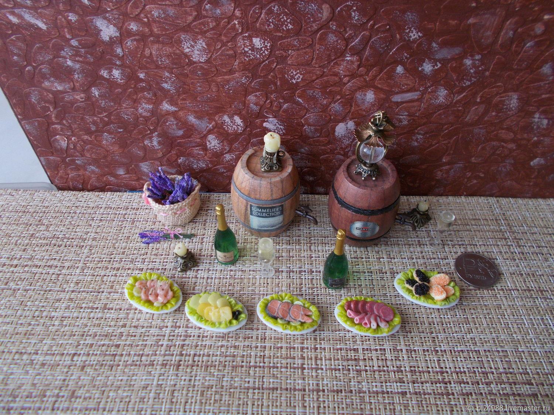 """Еда для кукол, """"Винные посиделки"""" , масштаб 1:12, Кукольная еда, Псков,  Фото №1"""