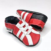 Одежда детская handmade. Livemaster - original item Red&White baby shoes, Baby sneakers, Ebooba, Leather Baby Shoes. Handmade.