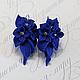 серьги с цветами из полимерной глины синего цвета Цена 850р