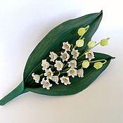 Украшения handmade. Livemaster - original item Brooch made of leather lilies. Handmade.