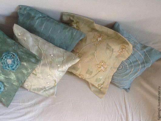 Текстиль, ковры ручной работы. Ярмарка Мастеров - ручная работа. Купить комплект из 5 чехлов на подушки  Мята. Handmade. Мятный