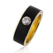 Украшения handmade. Livemaster - original item Gold ring with ebony and diamond 0,5 ct German Kabirski. Handmade.