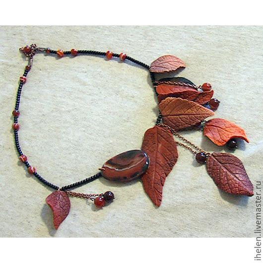 """Колье, бусы ручной работы. Ярмарка Мастеров - ручная работа. Купить Колье """"Осень  Лориэна"""". Handmade. Осень, колье, листья"""