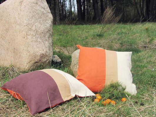 Текстиль, ковры ручной работы. Ярмарка Мастеров - ручная работа. Купить Диванные подушки «Осень».100% лен.. Handmade. Разноцветный