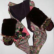 """Аксессуары ручной работы. Ярмарка Мастеров - ручная работа Комплект шарф-снуд+рукавички """"Бахрома"""". Handmade."""
