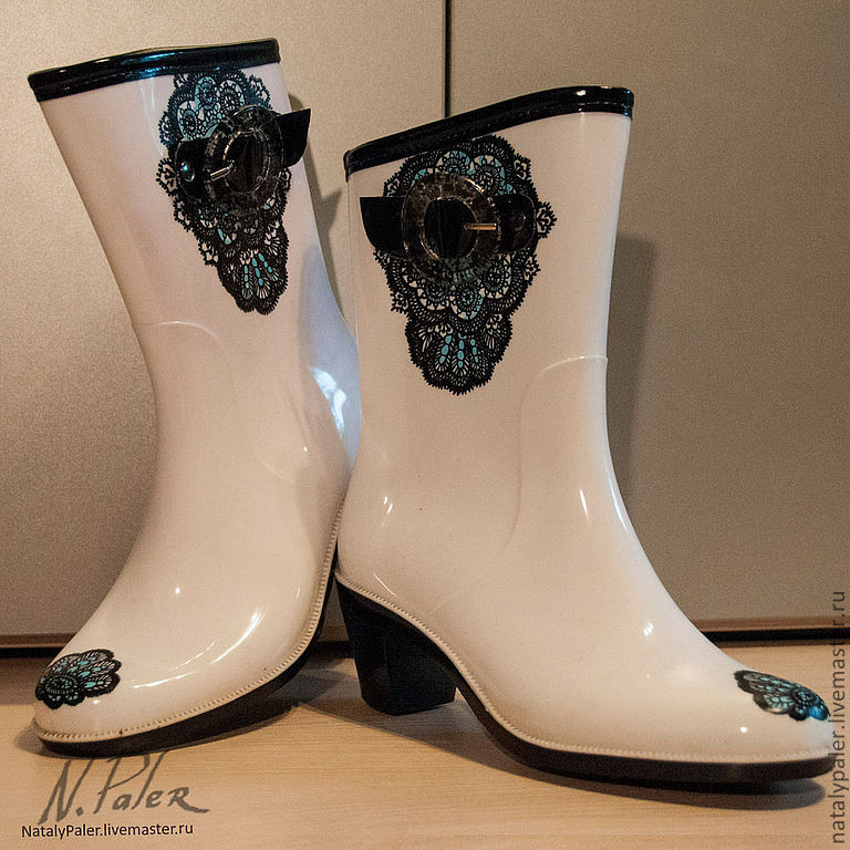 Painting on shoes. Rubber boots 'Black lace', High Boots, Moscow,  Фото №1