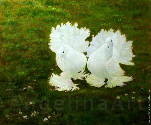 """Животные ручной работы. Ярмарка Мастеров - ручная работа. Купить Картина маслом """"Статные голуби"""". Белые голуби. Живопись масло.. Handmade."""