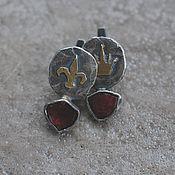 Украшения handmade. Livemaster - original item Earrings with tourmaline sections, silver and brass.. Handmade.