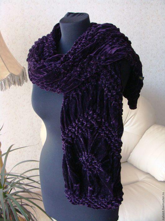 Винтажная одежда и аксессуары. Ярмарка Мастеров - ручная работа. Купить Бархатный винтажный шарф из шелка и вискозы. Handmade. Тёмно-фиолетовый