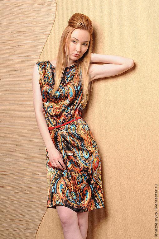 Платья ручной работы. Ярмарка Мастеров - ручная работа. Купить Легкое нарядное платье из купонного шелка. Handmade. Орнамент