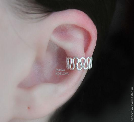 Каффы ручной работы. Ярмарка Мастеров - ручная работа. Купить Кафф Waves на середину ушка - серебрение/чёрный- имитация пирсинга уха. Handmade.