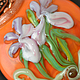 Кулон из стекла лэмпворк (lampwork) с орхидеями. Салатовый, оранжевый, сиреневый, розовый, орхидея Ванда, с цветами, подарок для любимой, супруге, подруге, сестре, коллеге, на день рождения.