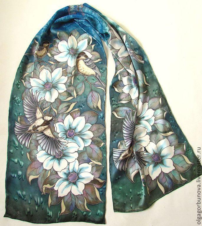 batik scarf 'white clematis', Scarves, Yaroslavl,  Фото №1