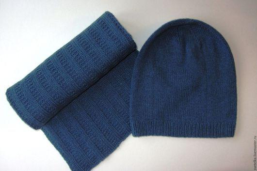 Шапки ручной работы. Ярмарка Мастеров - ручная работа. Купить Кашемировый комплект из шапки и шарфа. Handmade. Синий, шапка вязаная