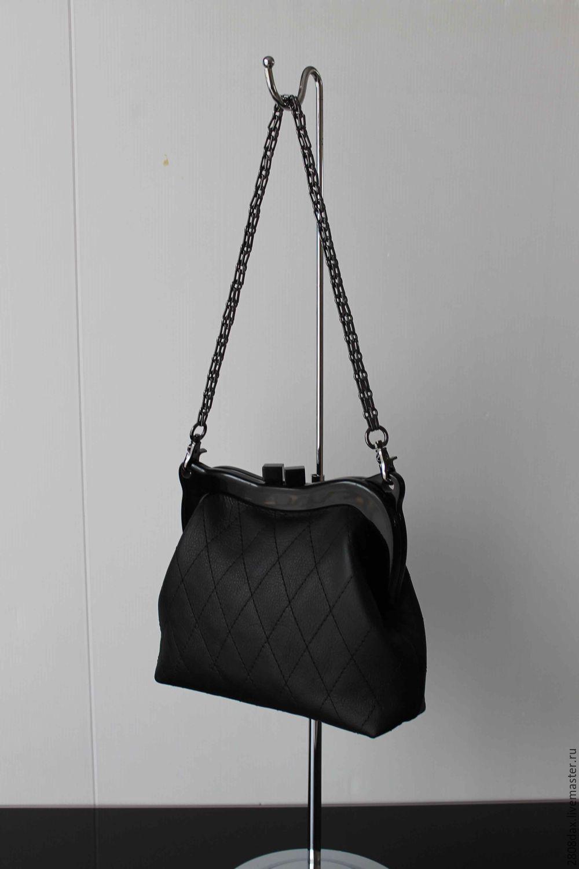 37eae78e2e6c50 My Livemaster Handbags handmade. Black leather bag on the clasp.  Olga'SLuxuryCreation.