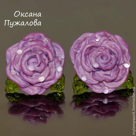 Серьги `Розы`, серебро, английский замок