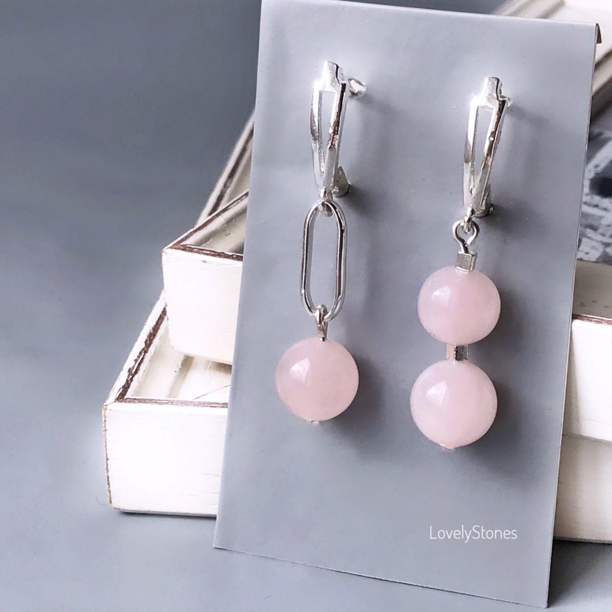 Asymmetry earrings with natural rose quartz on the locks, Earrings, Yaroslavl,  Фото №1