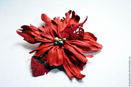 """Броши ручной работы. Ярмарка Мастеров - ручная работа. Купить Брошь """"Аленький цветочек"""". Handmade. Ярко-красный, брошь-цветок"""