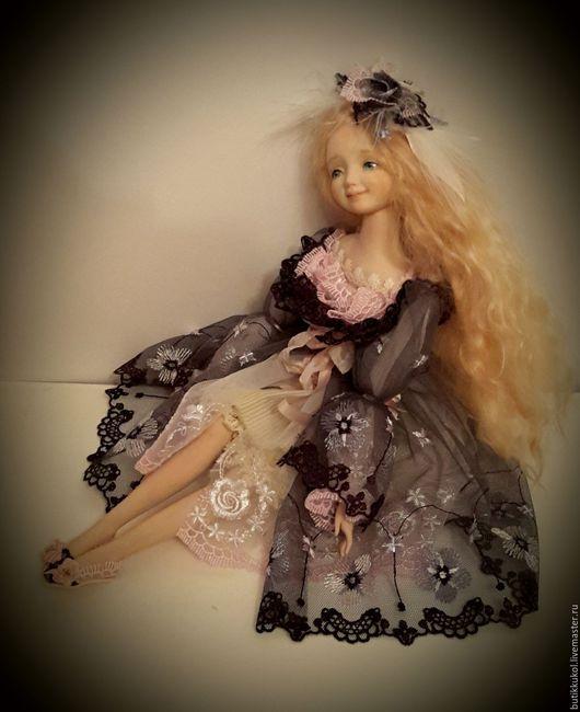 Коллекционные куклы ручной работы. Ярмарка Мастеров - ручная работа. Купить Будуарная куколка из пластика. Handmade. Тёмно-синий