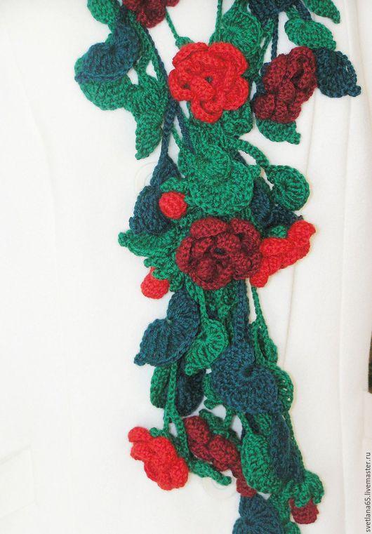 """Шарфы и шарфики ручной работы. Ярмарка Мастеров - ручная работа. Купить Шарф """"Цветочная гирлянда"""". Handmade. Зеленый, листочек"""