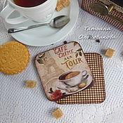 """Для дома и интерьера ручной работы. Ярмарка Мастеров - ручная работа Подставки под чашки """"Cafe creme a la Tour"""", 2шт, декупаж. Handmade."""