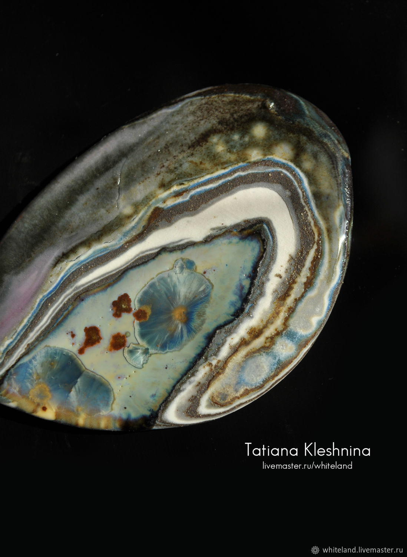 Брошь-пластина  с кристаллической глазурью, Брошь-булавка, Нижнеангарск,  Фото №1