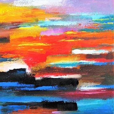 Картины и панно ручной работы. Ярмарка Мастеров - ручная работа Яркая абстрактная картина маслом на холсте Пейзаж Картина в кабинет. Handmade.