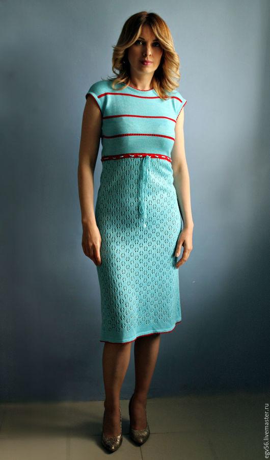 Платья ручной работы. Ярмарка Мастеров - ручная работа. Купить платье тата. Handmade. Голубой, стильное вязяное платье
