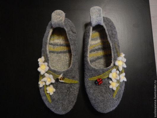 Обувь ручной работы. Ярмарка Мастеров - ручная работа. Купить домашние тапочки Весна. Handmade. Разноцветный, тапочки домашние