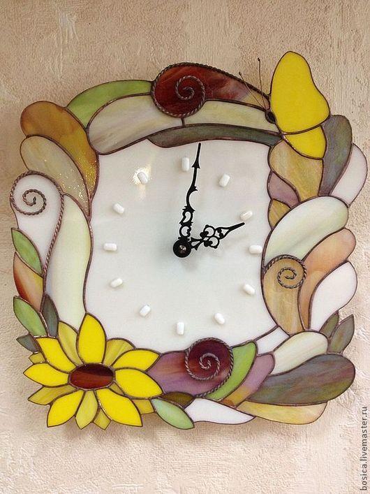 """Часы для дома ручной работы. Ярмарка Мастеров - ручная работа. Купить Часы """"Солнечные"""". Handmade. Желтый, часы интерьерные, подсолнухи"""