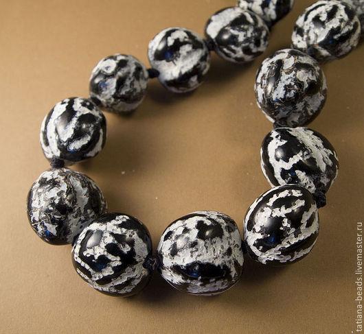 Для украшений ручной работы. Ярмарка Мастеров - ручная работа. Купить Бусины черно-белые мраморные из ореха кукуи (Филиппины), 22-25 мм. Handmade.