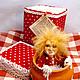 коллекционная кукла оберег домовенок Кузя. Вид с коробкой и сертификатом