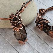 Украшения handmade. Livemaster - original item Copper pendant Smoky quartz on leather cord, large pendant. Handmade.