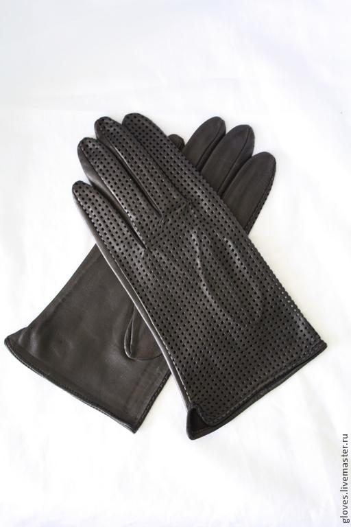 Варежки, митенки, перчатки ручной работы. Ярмарка Мастеров - ручная работа. Купить Перчатки мужские кожаные классические с перфорацией. Handmade.