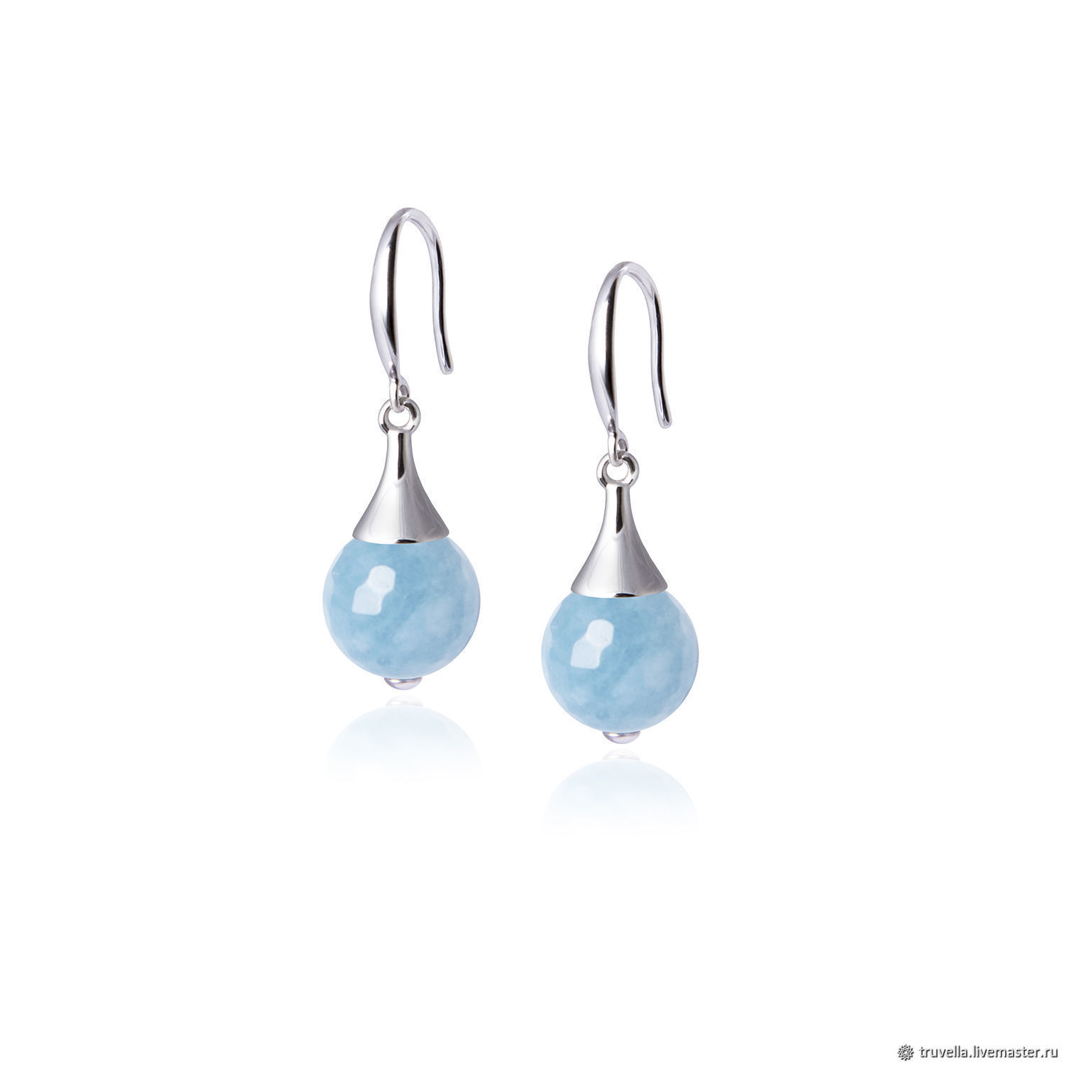 Earrings with blue quartz, a gift to his wife, the woman. Art.№44, Earrings, Moscow,  Фото №1