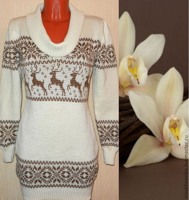 Sweater dress knit with a Norwegian ornament(pastel), Sweaters, Moscow,  Фото №1