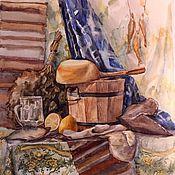 Картины и панно ручной работы. Ярмарка Мастеров - ручная работа Акварель Банный натюрморт 50х60. Handmade.
