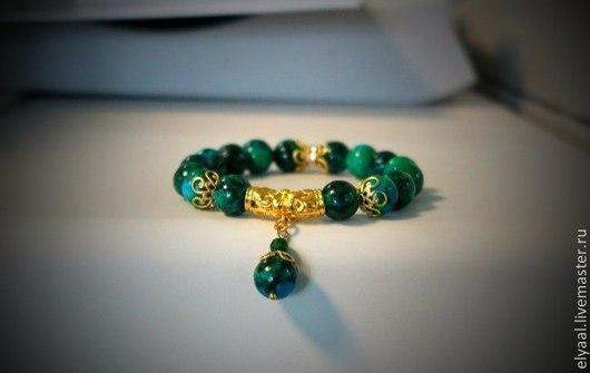 """Браслеты ручной работы. Ярмарка Мастеров - ручная работа. Купить Браслет """"Азурит"""". Handmade. Зеленый, синий браслет, азурит, подарок"""