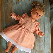 handmade. Livemaster - original item Clothes for dolls, peach dress for dolls made of natural linen. Handmade.