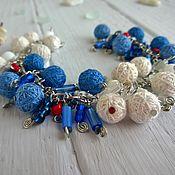 Украшения handmade. Livemaster - original item Bracelet on a Chain Vest with Textile Beads White Blue. Handmade.